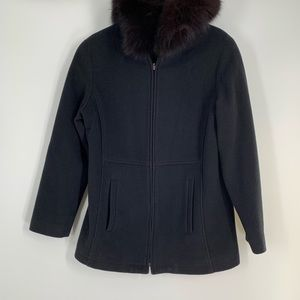 Forecasted of Boston Black Fox Fur Lined Coat S